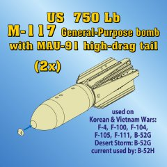 Astra Resin ASR4814: 1/48 M-117 750lb General Purpose Bombs