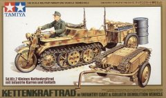 Tamiya 32502: 1/48 SdKfz 2 Kettenkrad w/Cart & Goliath Demolition Vehicle