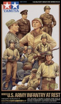 Tamiya 32552: 1/48 WWII US Infantry at Rest (9) & Jeep